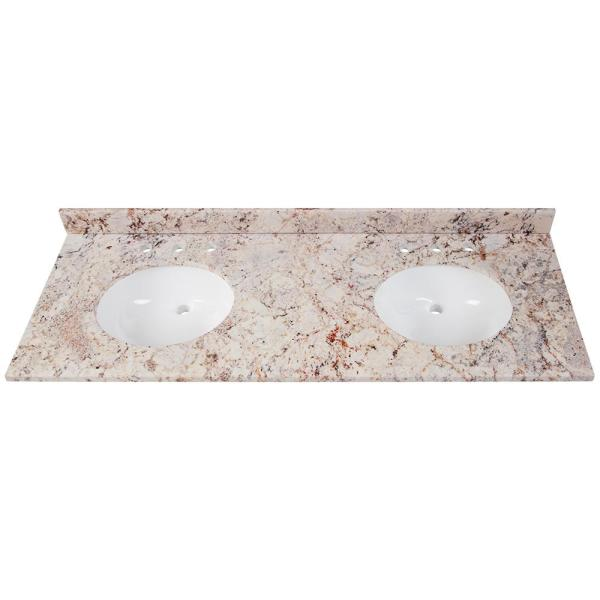 61 in. W x 22 in. D Stone Effects Double Sink Vanity Top in Rustic Gold with White Sink