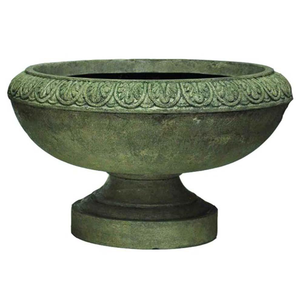 20 in. Dia Cast Stone Low Urn in Aged Granite