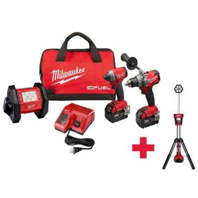 M18 FUEL ONE-KEY 18-Volt Lithium-Ion Brushless Cordless Hammer Drill/Impact Driver/Light Combo Kit W/ Free Stand Light