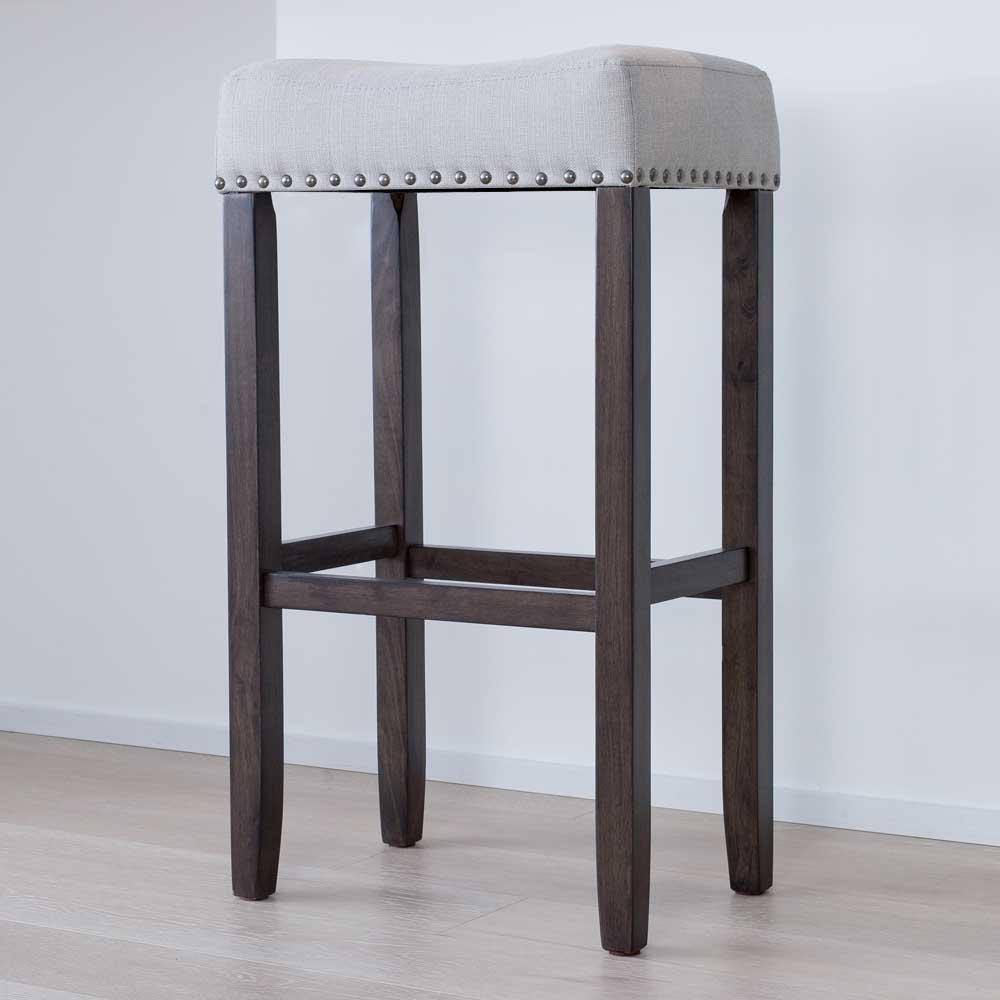 Hylie 29 in. Gray Fabric Cushion Dark Brown Finish Nailhead Wood Pub-Height Counter Bar Stool