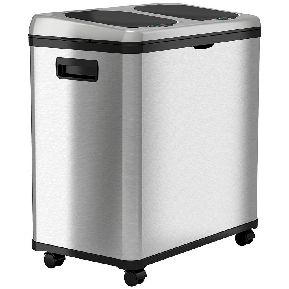 iTouchless 16 Gal. Dual-Compartment Stainless Steel Touchless Recycling Bin (8 Gal each)
