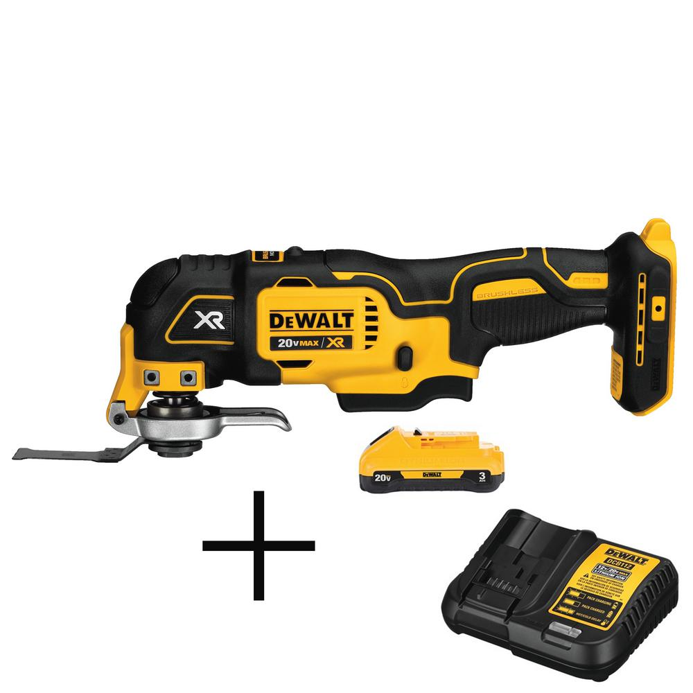 DEWALT 20-Volt MAX Lithium-Ion Battery Pack 3.0 Ah and Charger with Free Oscillating Multi-Tool