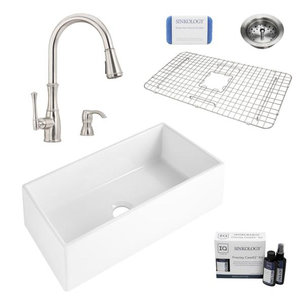 Harper All-in-One Farmhouse Apron Front Fireclay 36 in. Single Bowl Kitchen Sink with Pfister Wheaton Faucet and Drain