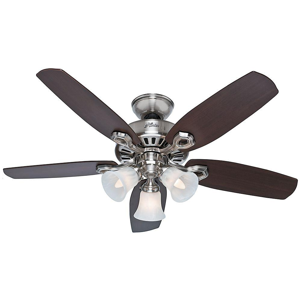 Hunter 42 In Indoor Brushed Nickel Builder Small Room Ceiling Fan With Light Kit
