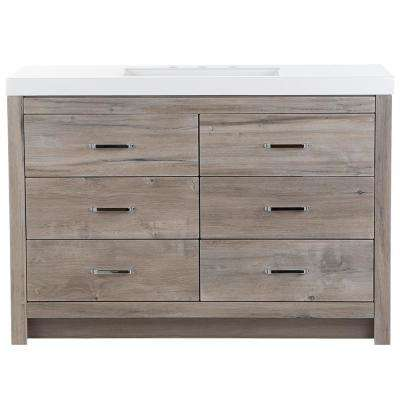 Woodbrook 49 in. W x 19 in. D Vanity in White Washed Oak with Cultured Marble Vanity Top in White with White Sink