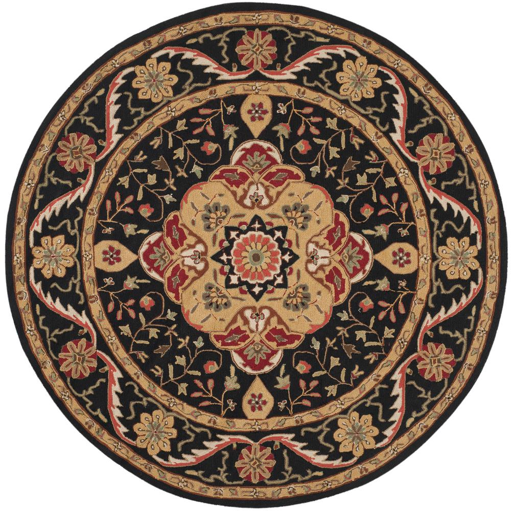 Safavieh Easy Care Black Cream 6 Ft X Round Area Rug