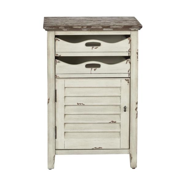 OSP Home Furnishings Charlotte Chair Vintage White Cottage Side Table