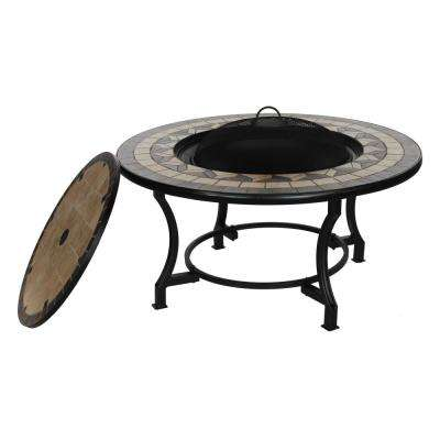 20 in. x 22 in. Round Mosaic Tile Metal Wood Fire Pit Table in Brown with Flat Lid