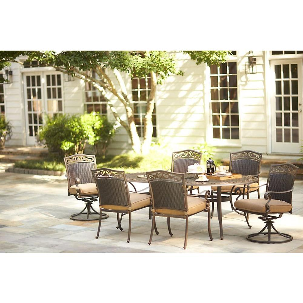Martha Stewart Living Miramar II 7-Piece Patio Dining Set with Tan Cushions