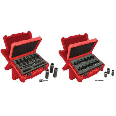 1/2 in. Drive SAE and 1/4 in. Drive Metric SHOCKWAVE Impact Duty Deep Well Socket Set (21-Piece)