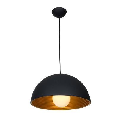 Astro 19 in. 1-Light Matte Black-Matte Gold Pendant with Shade