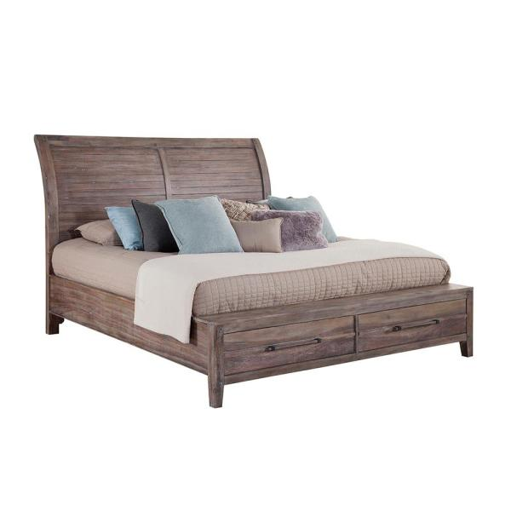 Aurora Weathered Gray King Sleigh Bed
