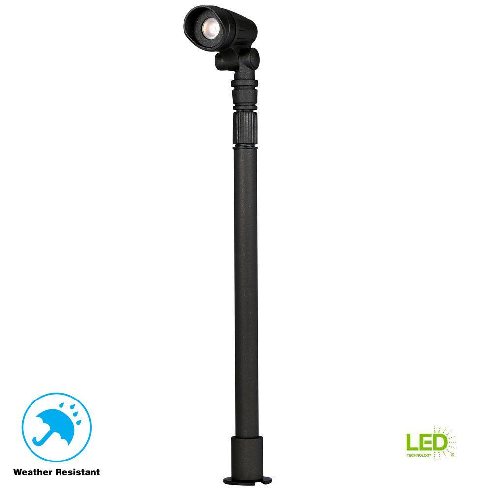 Low-Voltage 10-Watt Equivalent Black Outdoor Integrated LED  Landscape Telescoping Spot Light