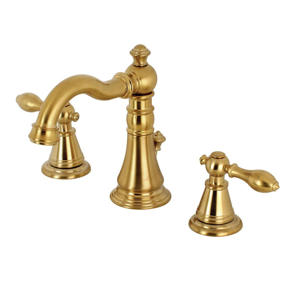 Classic 8 in. Widespread 2-Handle High-Arc Bathroom Faucet in Satin Brass