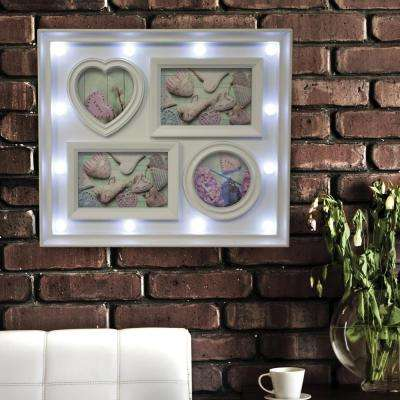 4-Opening White 3 in. x 5 in. Picture Photo Frame with LED Lights
