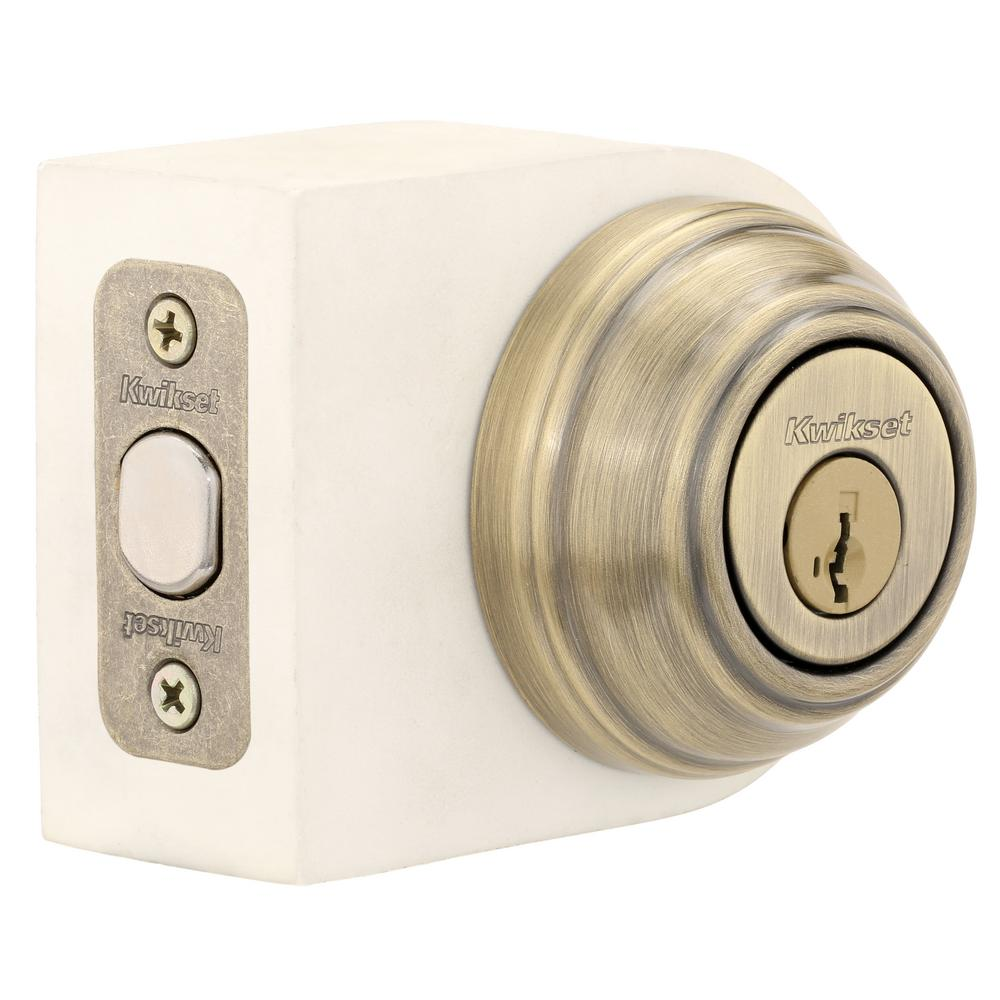 980 Series Antique Brass Single Cylinder Deadbolt Featuring SmartKey Security