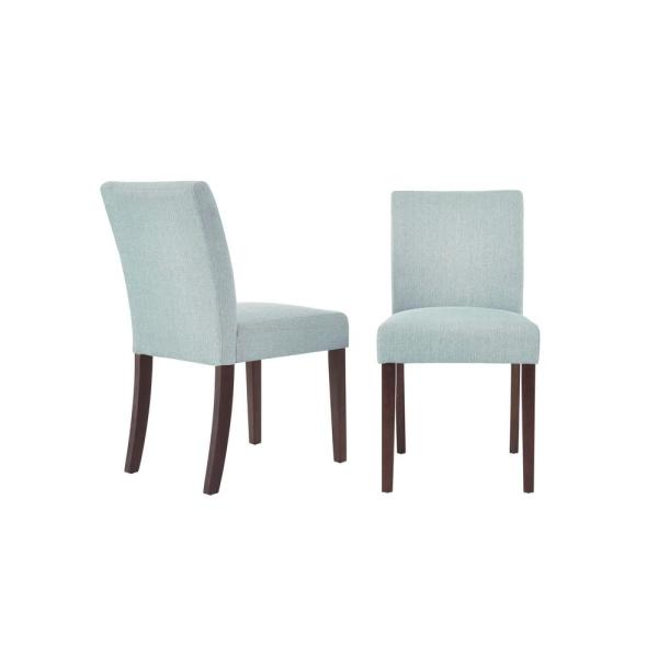 Banford Sable Brown Wood Upholstered Dining Chair with Back and Charleston Teal Seat (Set of 2) (17.9in. W x 34.44in. H)