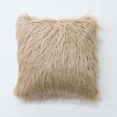 Taupe Faux Mongolian Lamb Fur Pillow