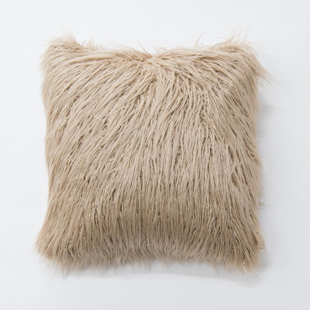 Taupe Faux Mongolian Lamb Fur Pillow