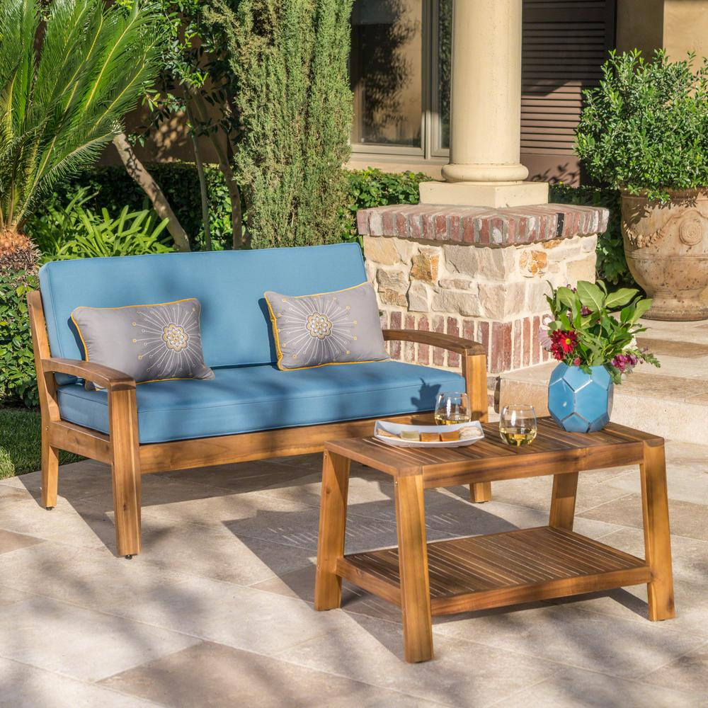 Incredible Noble House Grenada Teak Brown 2 Piece Wood Patio Conversation Set With Blue Cushions Unemploymentrelief Wooden Chair Designs For Living Room Unemploymentrelieforg