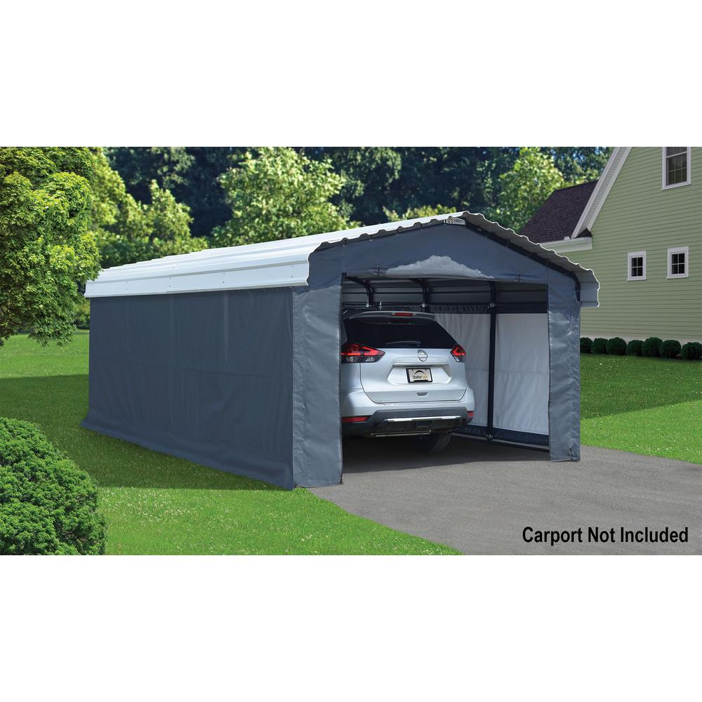 Arrow 12 Ft W X 20 Ft D Enclosure Kit For Carport With Convenient Drive Through Access And Heat Sealed Seams 10181 The Home Depot
