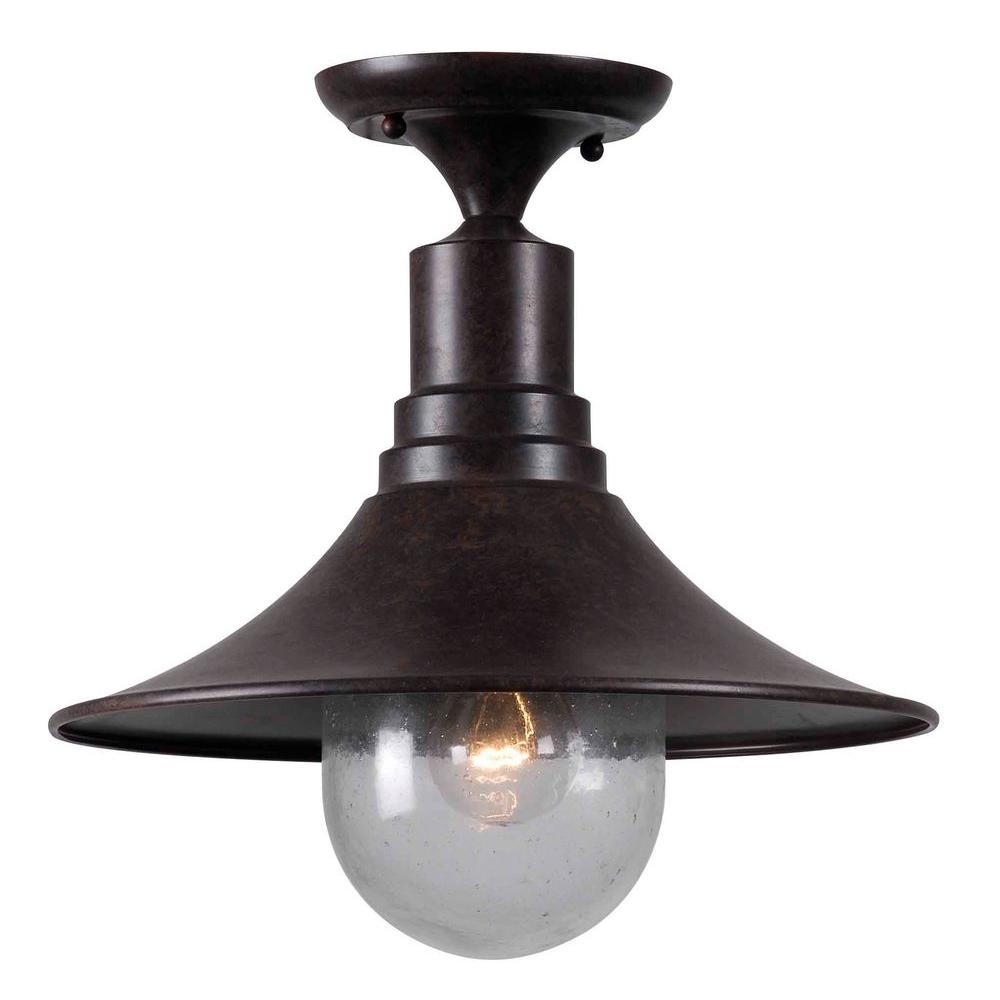 World Imports Brandon 1-Light Bronze Semi-Flush Mount Light