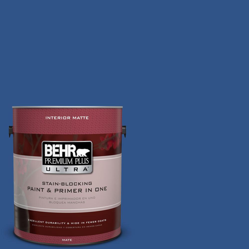 BEHR Premium Plus Ultra 1 gal. #S-G-590 Southern Blue Flat/Matte Interior Paint