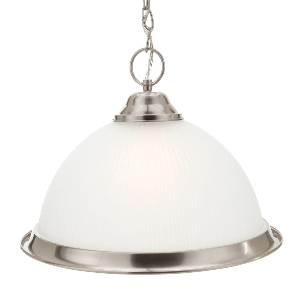 Commercial Electric Halophane 1 Light Brushed Nickel Pendant With Frosted Ribbed Gl Shade