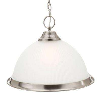 Halophane 1-Light Brushed Nickel Pendant with Frosted Ribbed Glass Shade