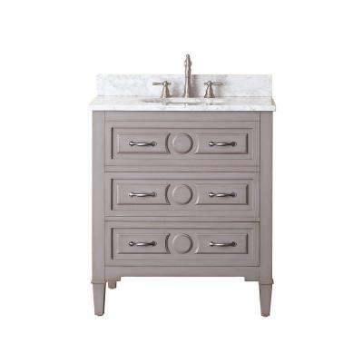 Kelly 31 in. W x 22 in. D x 35 in. H Vanity in Grayish Blue with Marble Vanity Top in Carrera White and White Basin