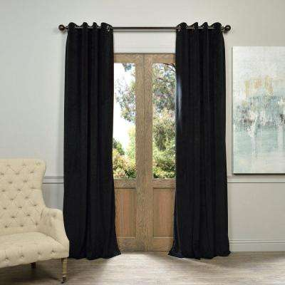Blackout Signature Warm Black Grommet Blackout Velvet Curtain - 50 in. W x 84 in. L (1 Panel)