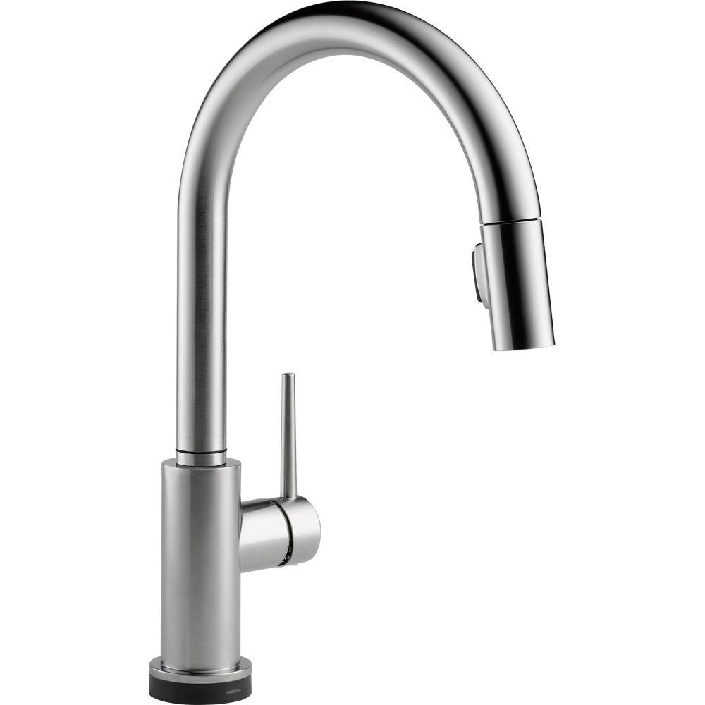 Delta Trinsic Single Handle Pull Down Sprayer Kitchen Faucet With Touch2o Technology In Arctic Stainless 9159t Ar Dst The Home Depot