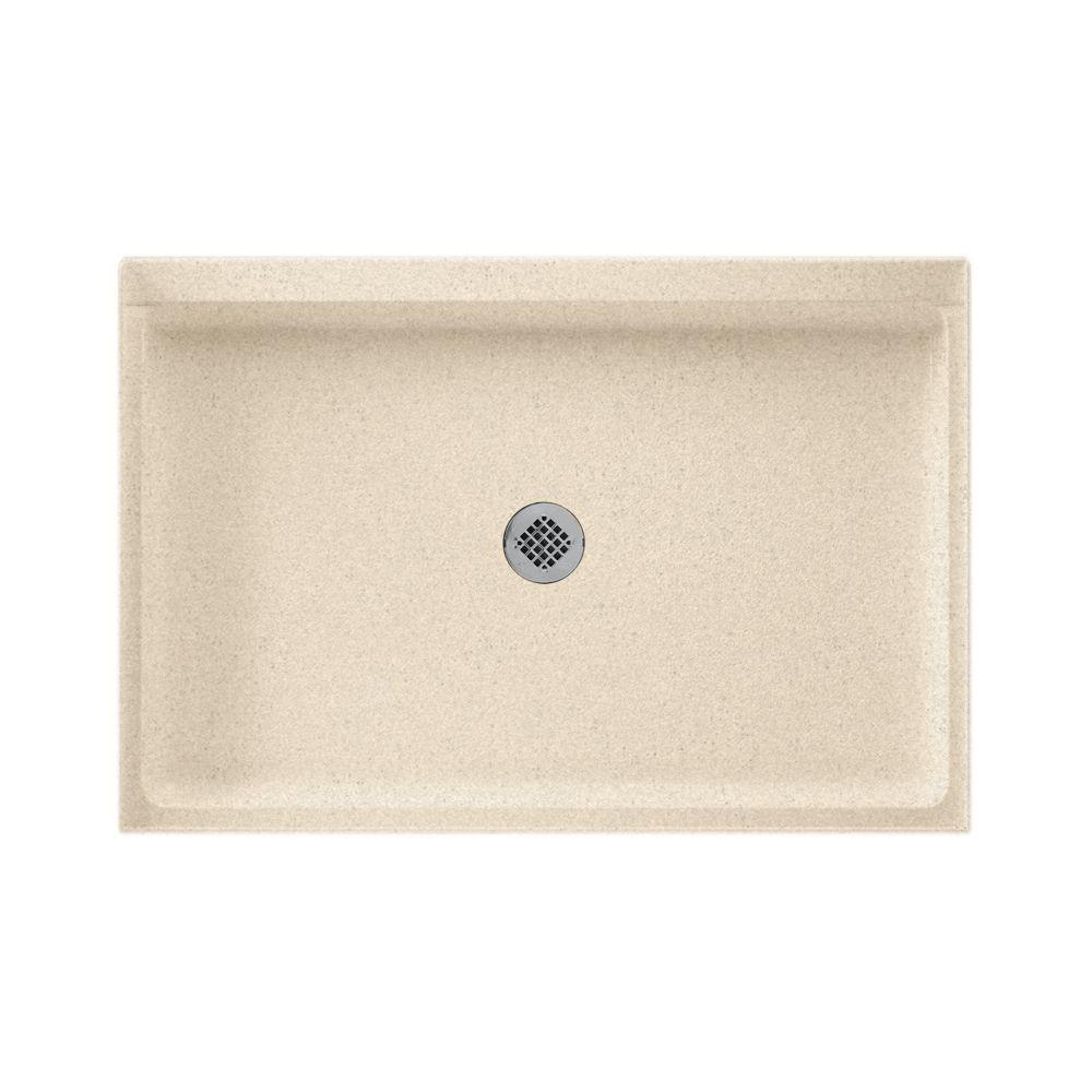 32 in. x 48 in. Solid Surface Single Threshold Center Drain