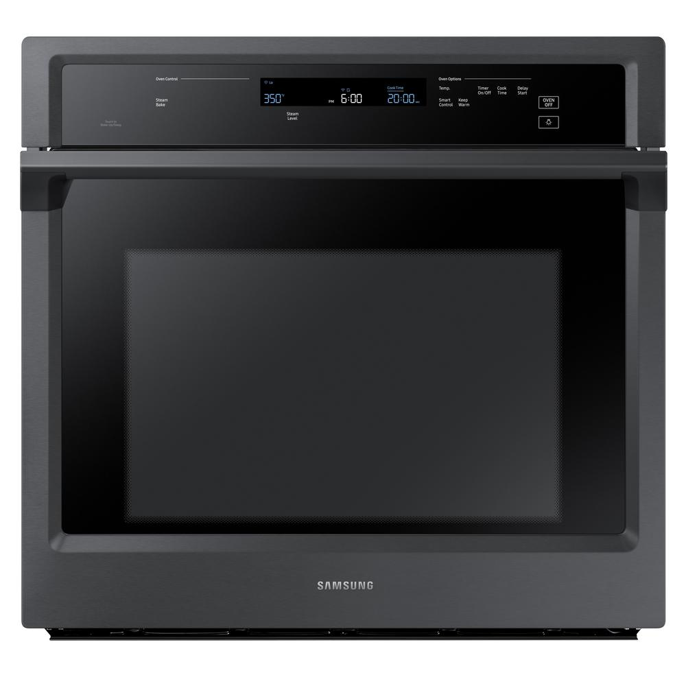 samsung 30 in single electric wall oven with steam cook and dual convection in fingerprint. Black Bedroom Furniture Sets. Home Design Ideas
