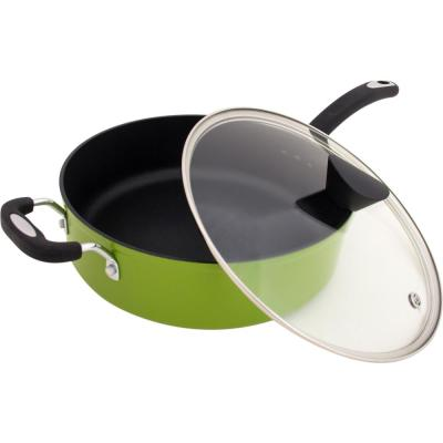 Green Earth 5.3 qt. Aluminum Ceramic Nonstick Sauce Pan in Green with Glass Lid