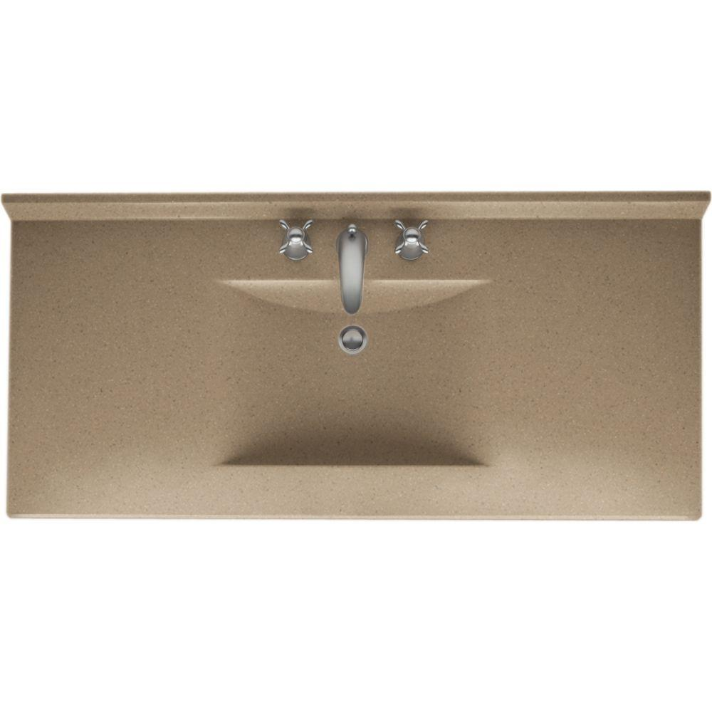 Swan Contour 49 in. W x 22 in. D x 10-1/4 in. H Solid-Surface Vanity Top in Barley with Barley Basin