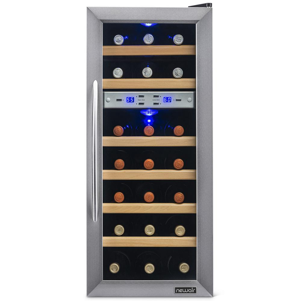NewAir Premium Dual Zone 21-Bottle Freestanding Cellar Thermoelectric Control Refrigerator Wine Cooler - Stainless Steel