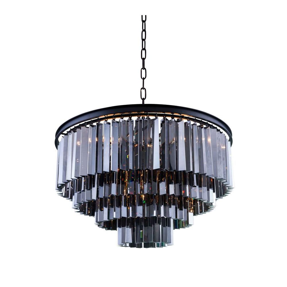 Elegant Lighting Sydney 17-Light Mocha Brown Chandelier with ...
