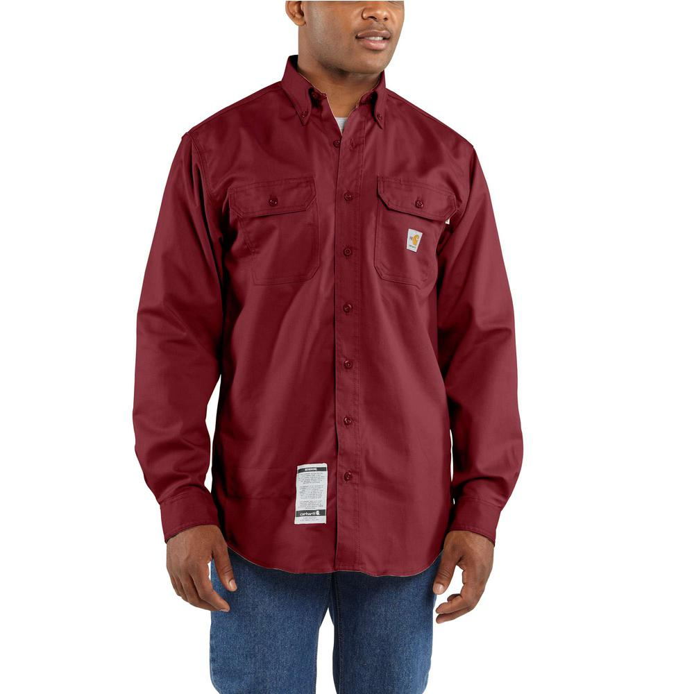 81c7739d0566 Carhartt Men s Tall Large Dark Crimson FR Classic Twill Long Sleeve ...