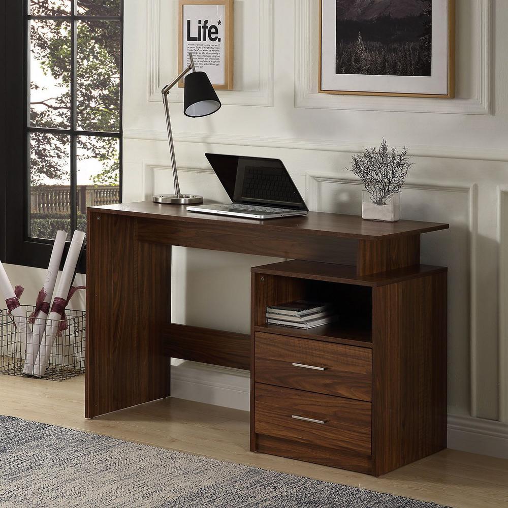 47.2 in. Walnut Rectangular 2 -Drawer Computer Desk with Shelf