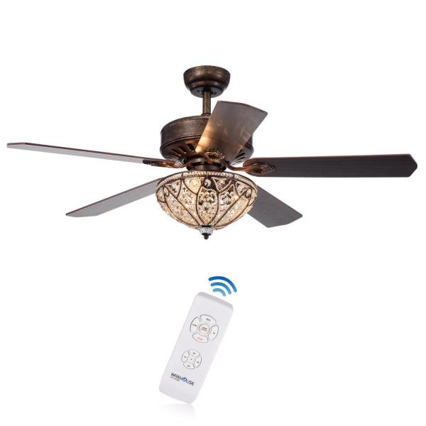 Gliska 52 in. Indoor Bronze Finsh Remote Controlled Ceiling Fan with Light Kit