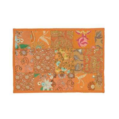 Timbuktu 13 in. W x 19 in. H Hand Crafted Orange Cotton and Poly Recycled Sari Placemat (Set of 4)