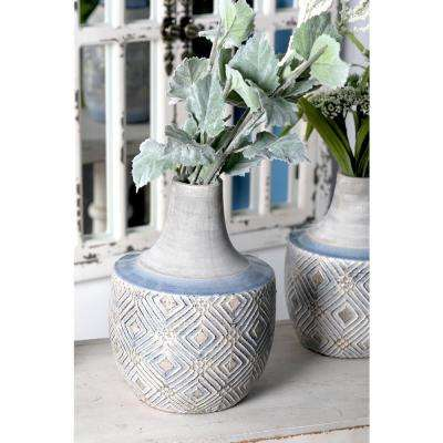 11 in. Gray Ceramic Decorative Vase with Stout Cylindrical Body and Blue Woven Line Patterns