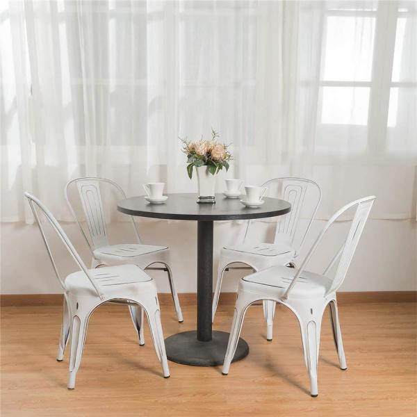 Boyel Living White With Back For Farmhouse Patio Restaurant Kitchen Distressed Style Metal Stackable Side Dining Chairs Set Of 4 Yy0002a Wh The Home Depot