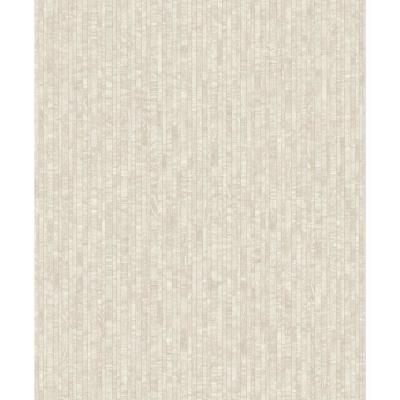 Mini Metallic Planks Faux Wallpaper Cream Paper Strippable Roll (Covers 57 sq. ft.)