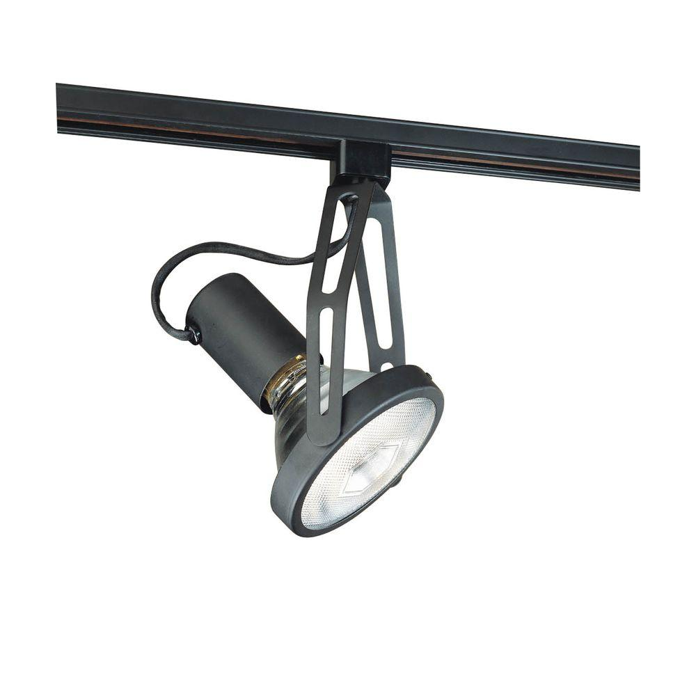 Hampton Bay Track Lighting Change Bulb: Hampton Bay Black Gimbal Linear Track Head-EC934BK