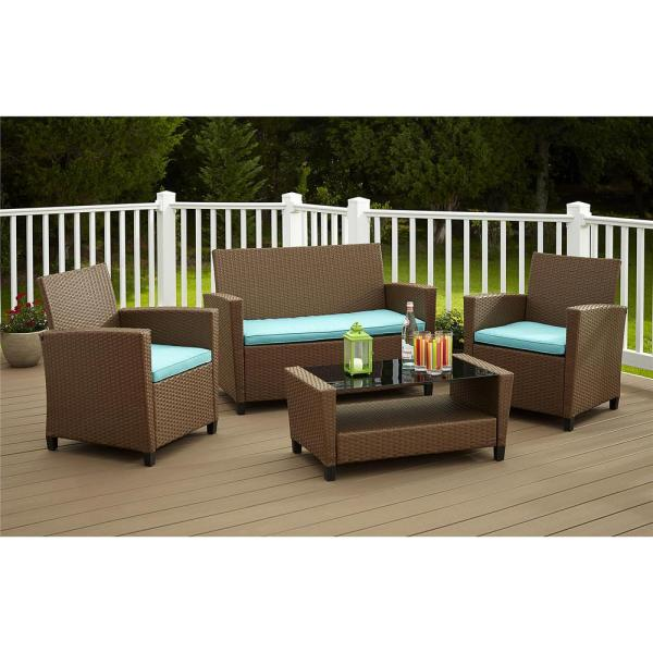 Cosco Malmo 4 Piece Brown Resin Wicker