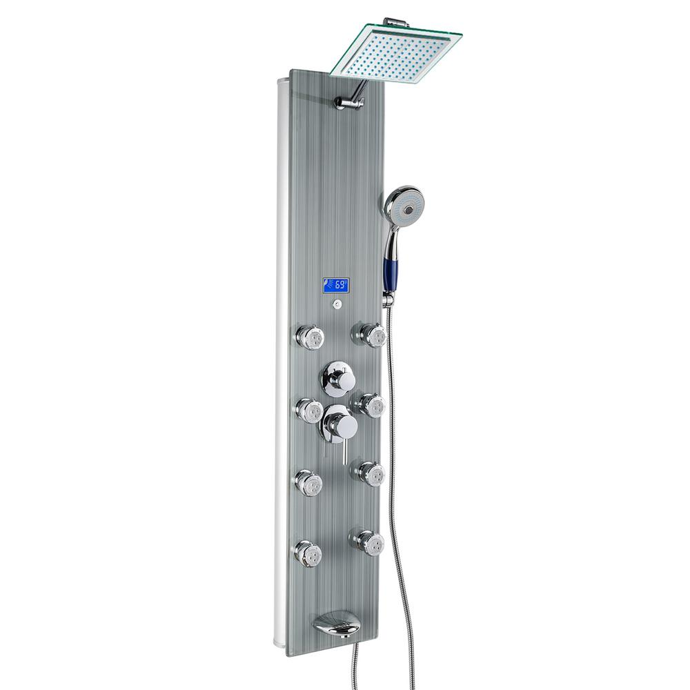 Akdy 52 In 8 Jet Shower Panel System Gray Tempered Gl With Rainfall Head Led Display Handshower And Tub Spout