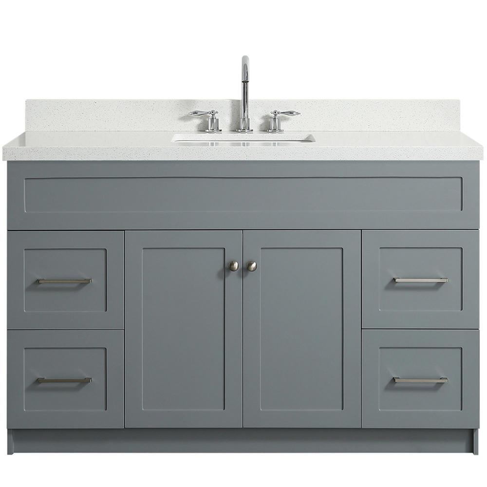 ariel hamlet 55 in bath vanity in grey with quartz vanity 86038