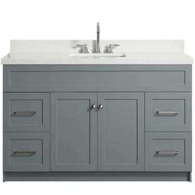 Bath Vanity In Grey With Quartz Vanity Top In White With White
